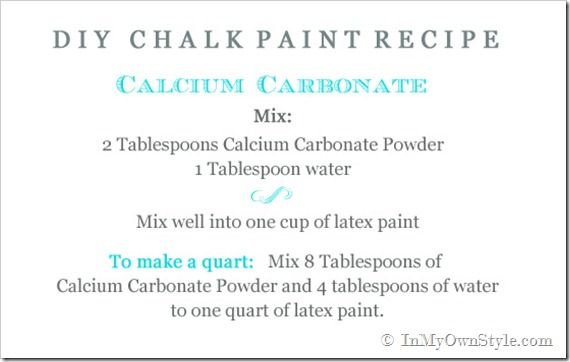 Websters Chalk Paint Powder, CeCe Caldwell's Chalk and Clay Paint, along with a DIY version using Calcium Carbonate Powder.