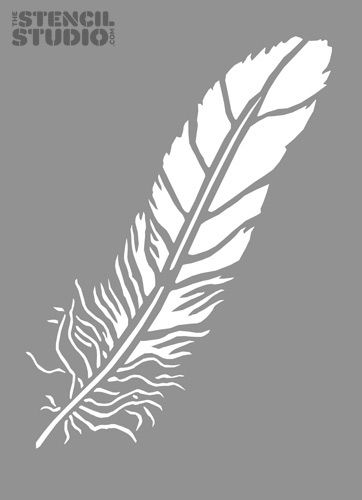 Free Stencil Templates for Walls | Feather Stencil from The Stencil Studio. Reusable stencils for wall ...