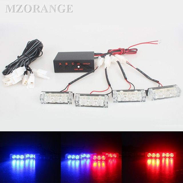 Set Police Lights Led Warning Ems Car Strobe Flash Firemen 12v Emergency High Power Red Blue White Green Am Police Lights Led Driving Lights Led Warning Lights