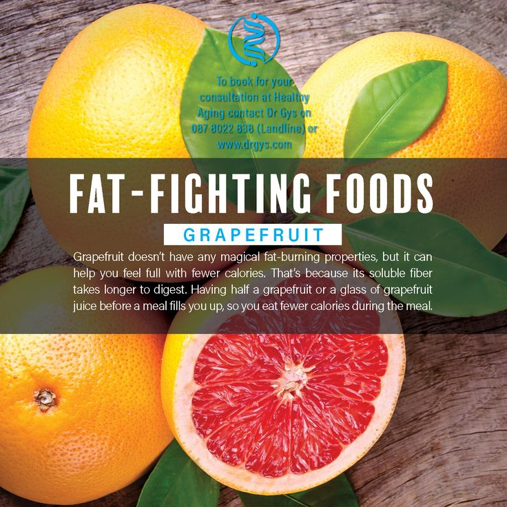 #Fat-Fighting Foods Grapefruit Grapefruit doesn't have any magical fat-burning properties, but it can help you feel full with fewer calories. That's because its soluble #fiber takes longer to digest. Having half a #grapefruit or a glass of grapefruit juice before a meal fills you up, so you eat fewer calories during the meal. #weightlosstip #Weightloss #drGys