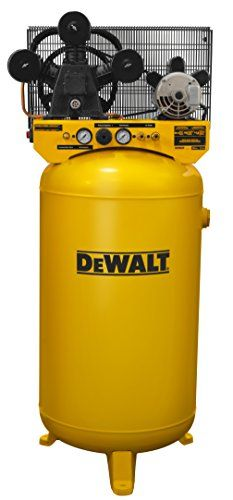 "DeWalt 80-gallon high air flow, single stage air compressor features a cast iron, three cylinder, oil lubricated pump with a one-piece cast iron crankcase, full cast iron cylinder body, durable Swedish stainless steel flex leaf valves, oil level sight glass, easily accessible oil fill, 12"" cast iron balanced flywheel and large intake filter/silencers. Large capacity, 80 gallon ASME* air receiver provides more air for longer run times on air tools such as ratchets, impacts, spray guns…"