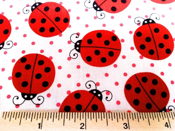 Lady Bugs Fabric by Pink Light Design from Picnic Party for Robert Kaufman Fabrics