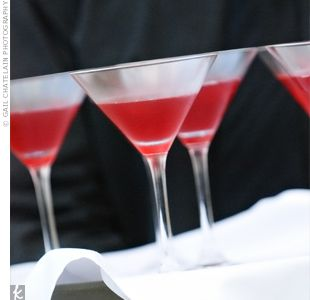 Signature cocktails (pomegranate martinis)