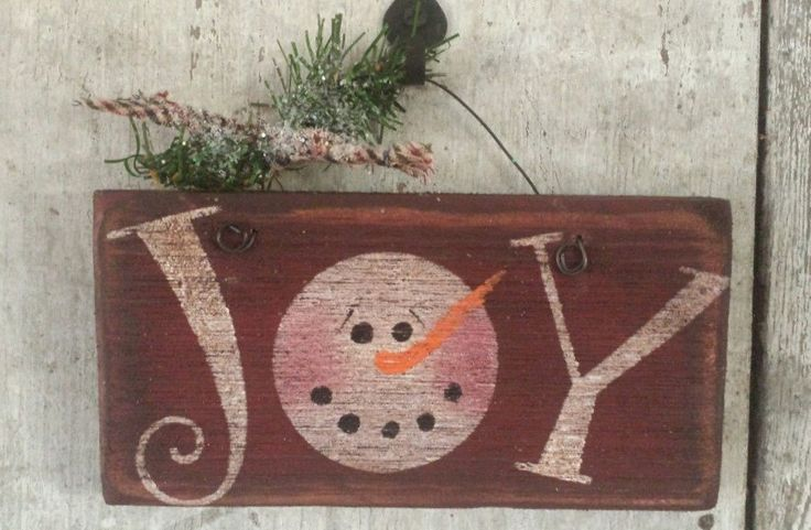 Primitive Snowman, Snowmen, Joy Sign, Painted Snowman, Country Snowman, Snowman Joy, Snowman Sign, Barn Wood,Wood sign by FlatHillGoods on Etsy