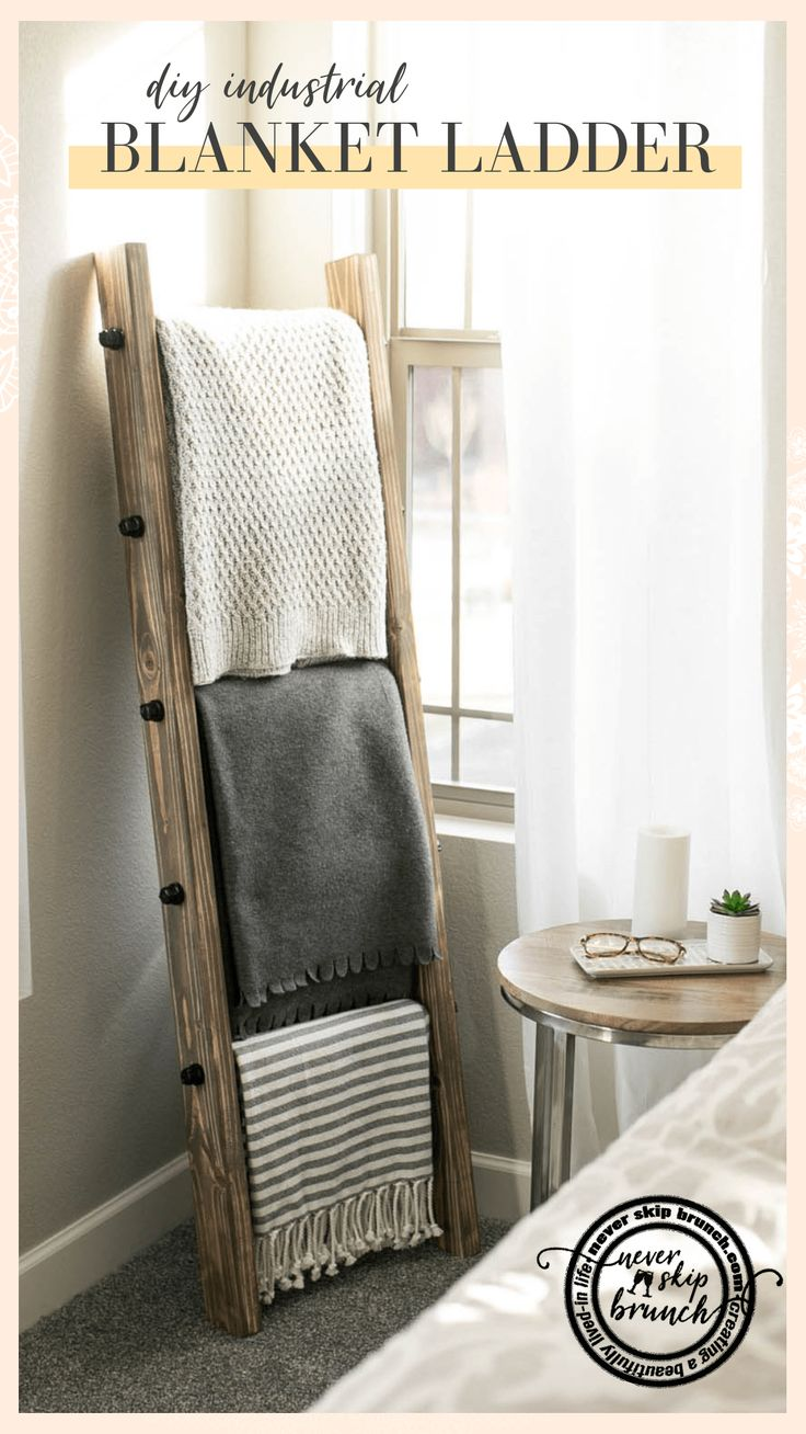 How to make a DIY Industrial Style Blanket Ladder under $60