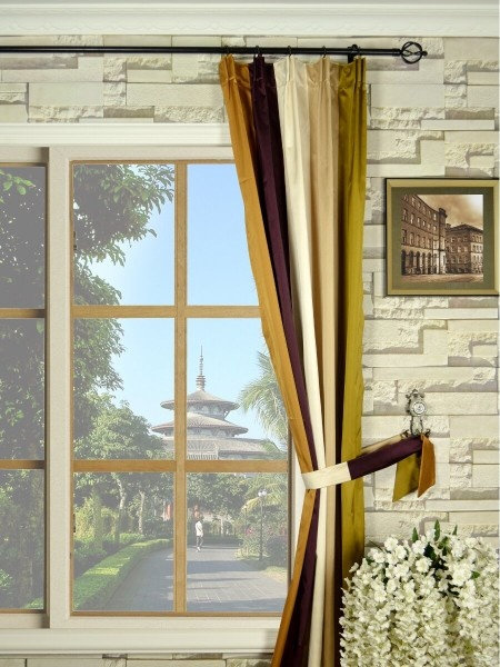 Bold Stripe Versatile Pleat Faux Silk Curtains …