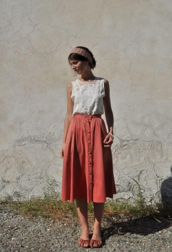 Delicate white blouse and midi skirt loveliness