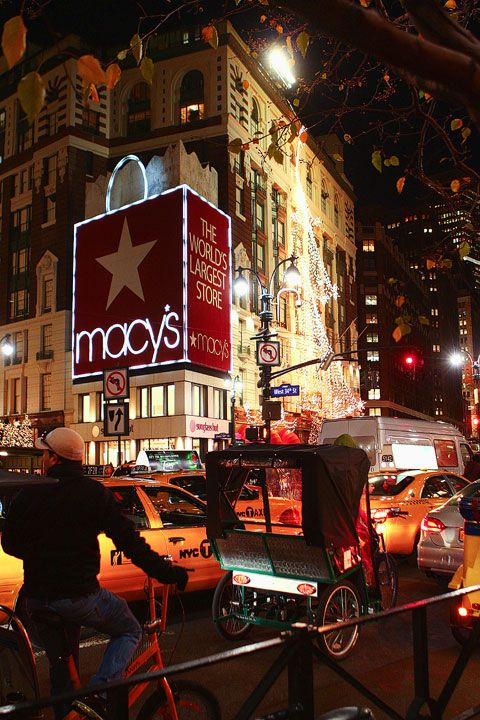 Macy's store cover 1 square block. The store has 2 floors of Shoes in New York City at Christmas 2011