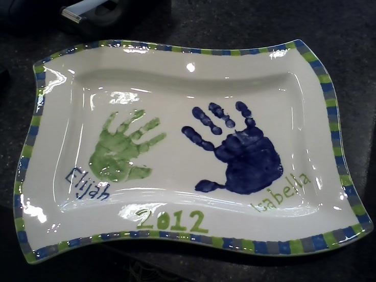 126 best plates images on pinterest handprint art for Handprint ceramic plate ideas