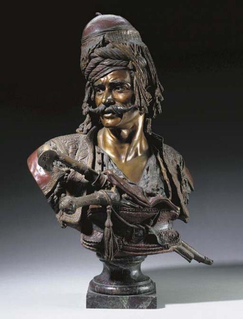 Emile-Coriolan- Hippolyte Guillemin (1841-1907) - Portrait of a Turkish soldier (Bashi-Bazouk), bronze, overall, 87,6 cm high.