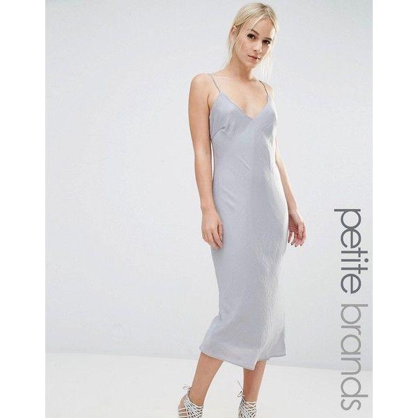 New Look Petite Satin Midi Slip Dress ($38) ❤ liked on Polyvore featuring dresses, petite, silver, midi dress, strappy midi dress, strappy slip dress, v neck dress and strap dress