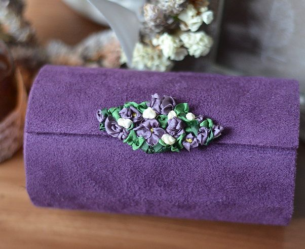 Silk ribbon embroidered travel jewelry case with cylindrical compartments. http://caffeinatedkitten.wix.com/crafts