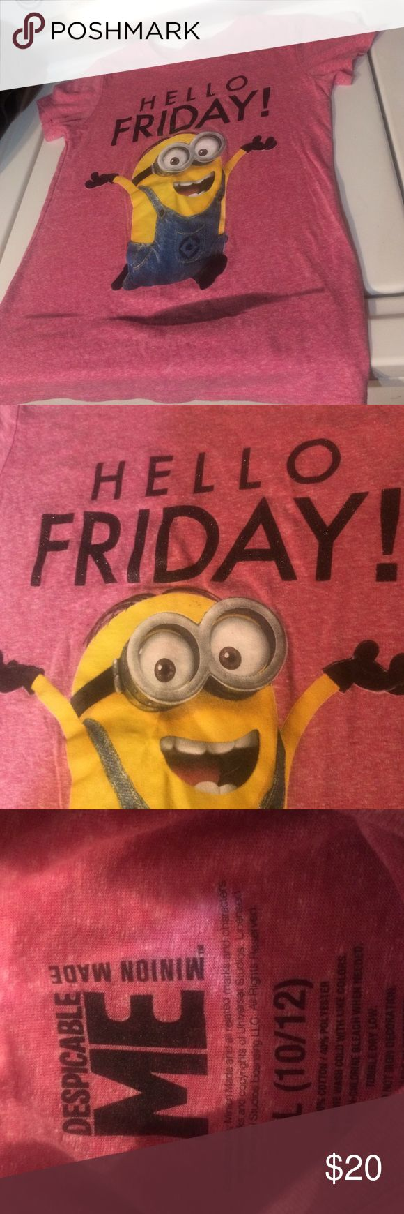 Despicable Me Minion shirt :) Never wore. Brand new. Says HELLO FRIDAY 60% cotton 40% polyester Love the color how it has white in it ;) Macy's Shirts & Tops