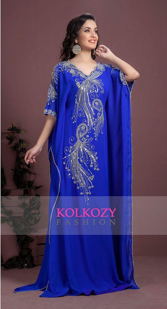 Moderno colore blu ricamato Kaftan partito usura di KolkozyShop