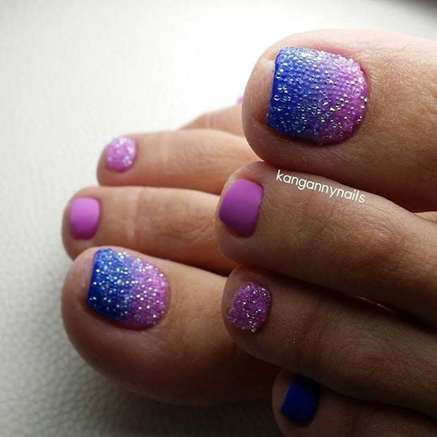 Ombre Pedicure Toe Nail Design for Spring and Summer #PedicureIdeas
