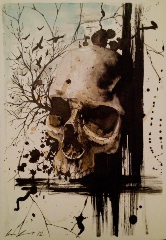 He wanted to soar with the birds, but would have to accept the view rather than the actual action of flight.  ~X~    ~~~~~~~~ Skull painting by Jacob Pedersen  ~~~~~~~~~~~~