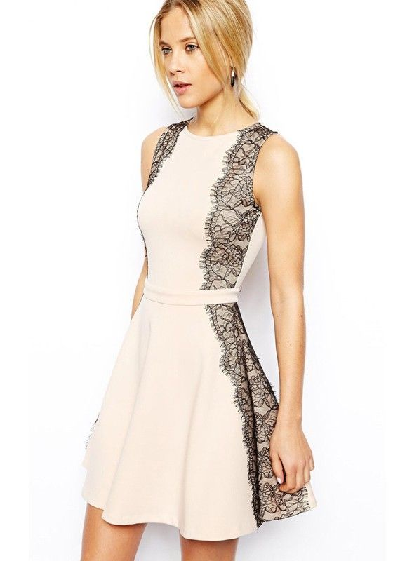 Super Cute Black and Light Pink Patchwork Lace Round Neck Dacron Dress #Cute #Black_Lace #Pink #Summer #Fashion