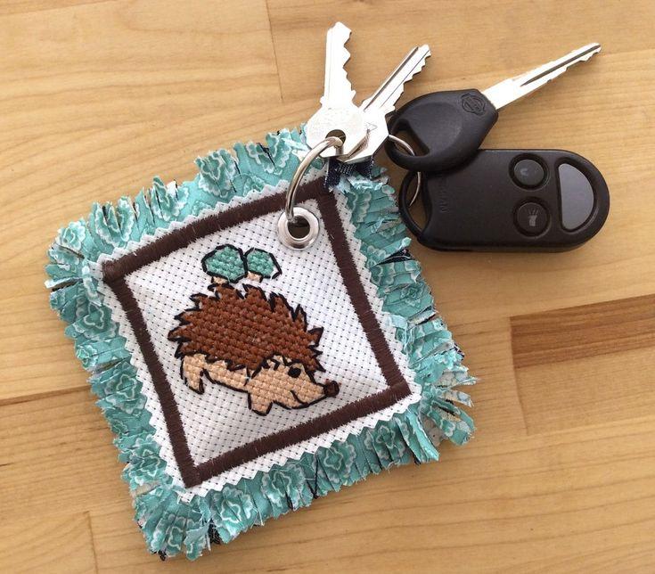 Hedgehog Cross Stitch Pattern Keychain   FaveCrafts.com