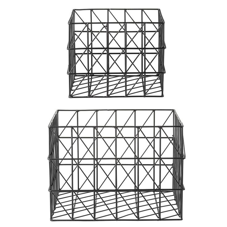 Square Oppbevaringsboks 2-Pakk, Svart, Bloomingville