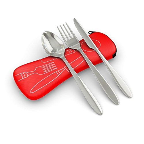 3 Piece Stainless Steel Knife Fork Spoon Lightweight Travel  Camping Cutlery Set with Neoprene Case red *** Check it out! Amazon Affiliate Program's Ads.
