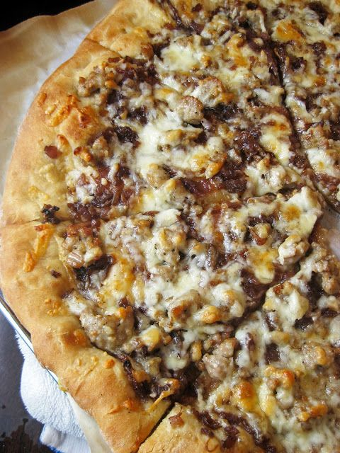 Sausage, Manchego, and Caramelized Onion Pizza | A Hint of Honey