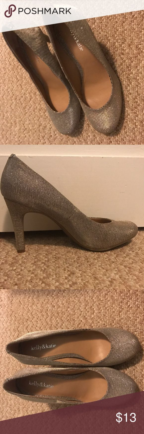 Silver Sparkly Heels Silver Sparkly/Glitter Heels from Kelly and Katie. Only worn once. Size 9. Kelly & Katie Shoes Heels
