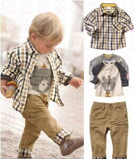 TZ 063,Free Shipping! new spring baby clothes set cool boy 3 pcs suits t shirt+shirt+pants children garment Wholesale And Retail-in Clothing Sets from Apparel & Accessories on Aliexpress.com