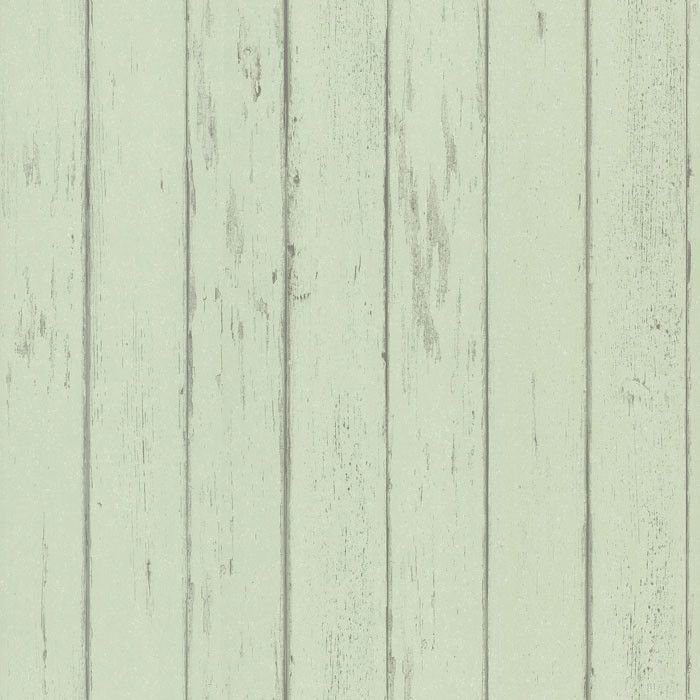 Weathered Wood Plank Mint Wallpaper