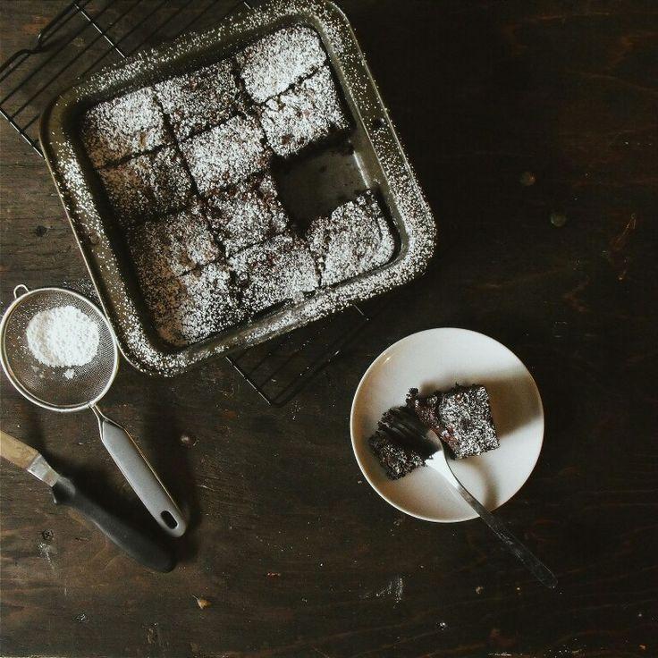 Brownies. Dessert. Chocolate. Icing sugar.  Rustic. Birch+Baker.