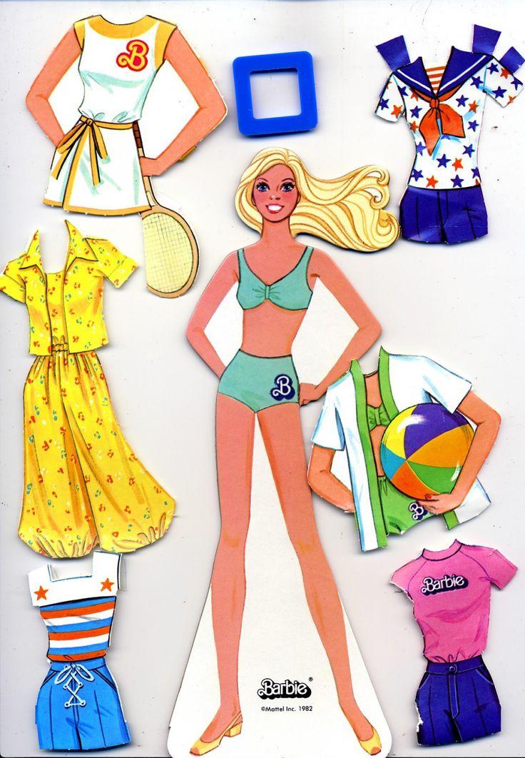 vintage paper dolls | Vintage 1982 Malibu Barbie Paper Doll. Cardboard doll, plastic doll ...