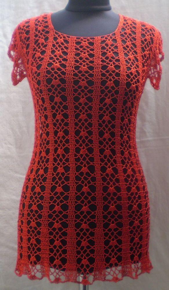 Tunic Ferrari #red exclusive #crochet art #silk short sleeve handmade size S M #Handmade #Tunic