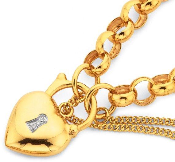 9ct 19cm Belcher Bracelet with Diamond Set Padlock