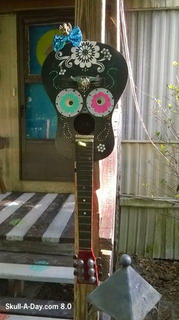 Upcycled Guitar Sugar Skull Birdhouse