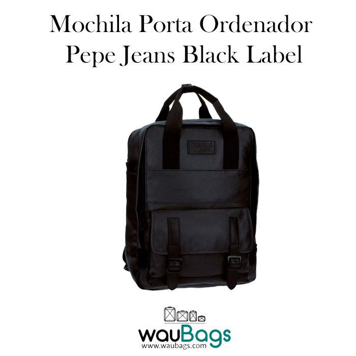 Mochila Pepe Jeans Black Label, ideal para llevar siempre contigo tu ordenador portátil de hasta 13″!!  Con un compartimento principal con cremallera y un bolsillo acolchado interior para tu Tablet o Portátil de hasta 13″, además de un bolsillo delantero con solapa.  @waubags #pepejeans #mochila #portaordenador #portatil #tablet #complementos