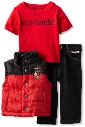 Ecko Baby-boys Infant Patched Up Vest Set, Red, 12 Months - Ecko vest set - Pant Sets - Apparel - $22.68
