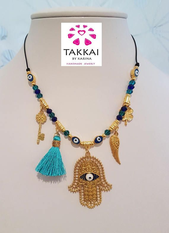Hamsa Necklace . Collar de Mano de Fatima. Evil Eye NecKlace. Ojo Turco. Boho Style  ##style #fashionblogger #fashionnecklaces #hamsa #manodefatima  Buy in my store:  www.etsy.com/mx/shop/TakkaibyKarina/items