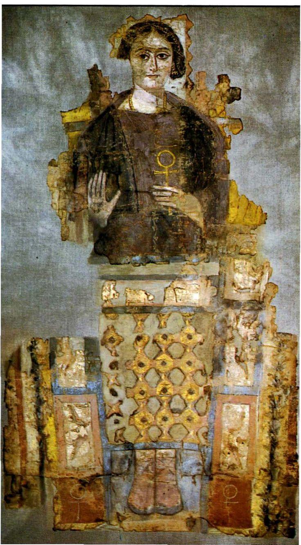 PEINTURE ÉGYPTIENNE: Antinoe Femme tenant la croix ansée. Very Klimt