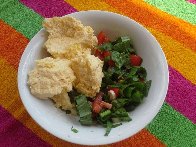 Balmos cu salata de macris, Transylvanian polenta made with fat sheep milk and wild sorrel salad