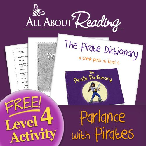 """Parlance with pirates with """"The Pirate Dictionary"""" - a free downloadable activity from All About Reading Level 4!"""
