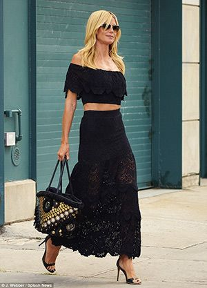 #heidiklum steps out in New York City on August 12, 2015, wearing a