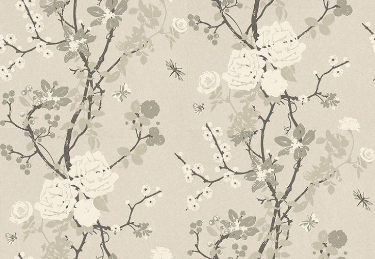 Mademoiselle Silver Mist (TCW1010-01) - Tapet-Cafe Wallpapers - A delicate floral trailing pattern featuring trailing branches and softly floating butterflies on a silvery mist background. Mademoiselle has a large pattern repeat and an elegance which makes it  feel almost like a hand painted panel. Shown here in metallic silver, white and stone. Other colourways are available. Please request a sample for a true colour match. Pattern repeat is 72cm.