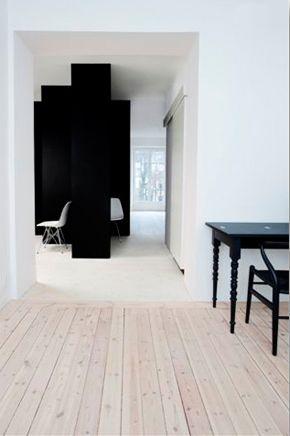 black + white + wooden floor