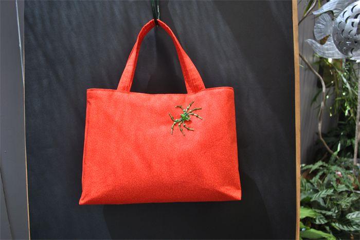 Lexi - ladies orange beaded spider bag