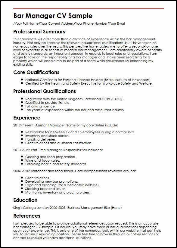 Bar Manager Job Description Resume Luxury Bar Manager Cv Sample Myperfectcv In 2020 Resume Examples Job Resume Resume