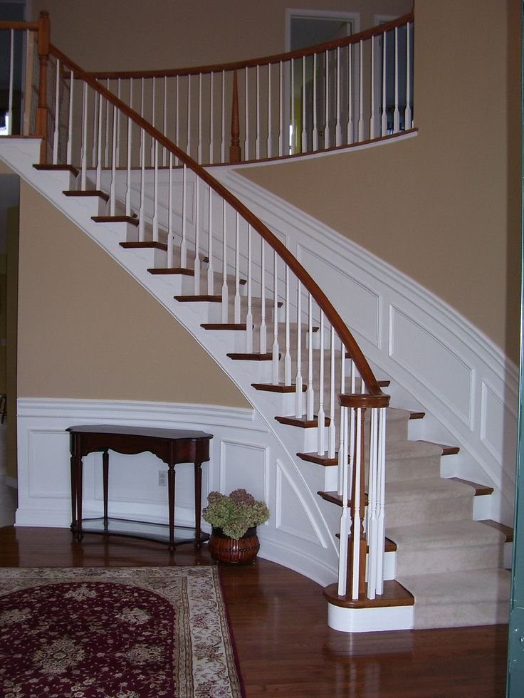 Wainscoting along curved stairs  Wainscotting Design