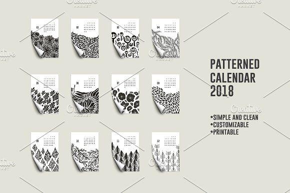 Patterned Calendar 2018 by mky on @creativemarket