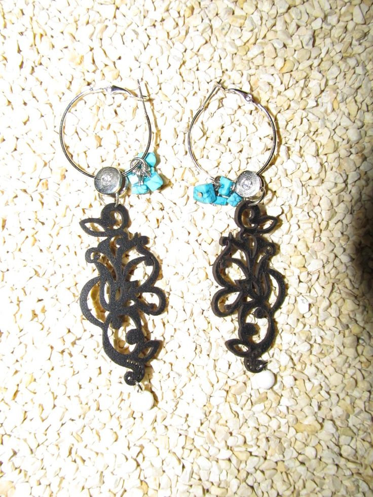 Handmade earrings with black leather filigree (1 pair)  Made with black leather filigree, antiallergic earring hoops, metal with crystal and turquoise stones.