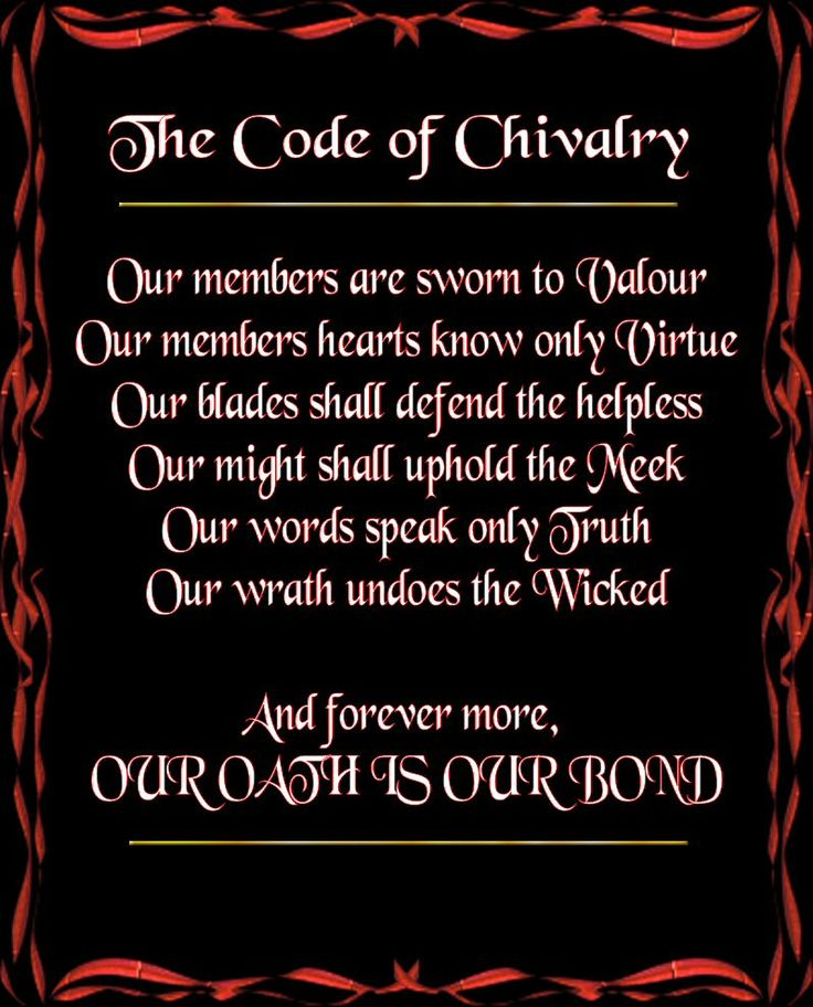 Code of Chivalry.
