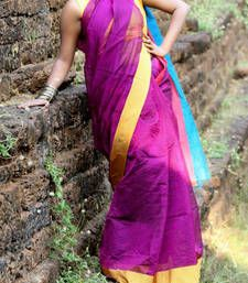 Buy PURPLE and  BLUE hand woven cotton silk saree with blouse hand-woven-saree online