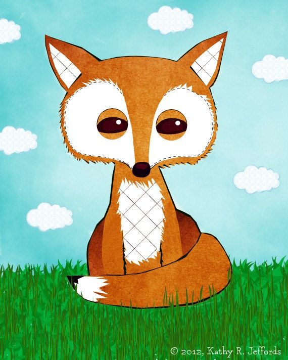 Fox Print Red Fox Picture Woodland Fox Poster Cute Baby